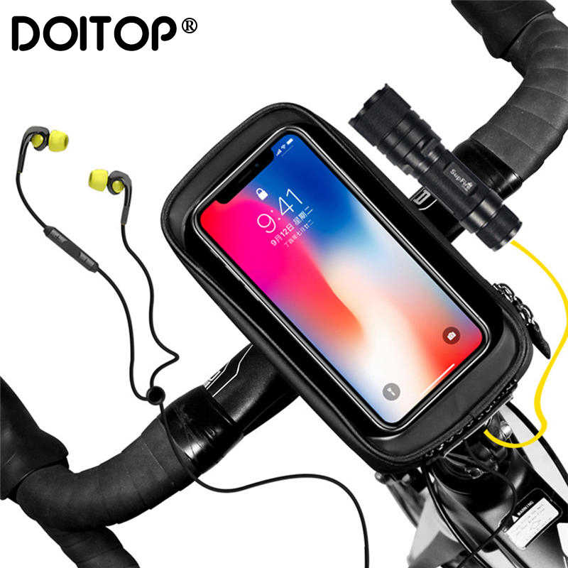 DOITOP Cycling Bicycle Bike Mobile Phone Case Holder Front Handlebar Waterproof Storage Bag Touchscreen for Samsung iPhone 8 7 6