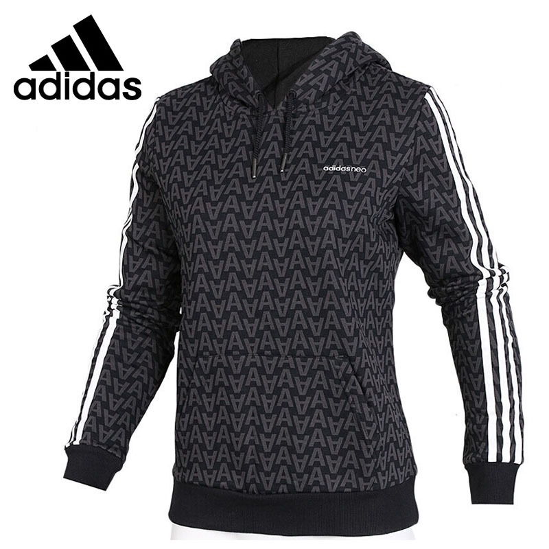 Original New Arrival Adidas NEO Label AOP HOODIE Women's Pullover Hoodies Sportswear side slit fleece drop shoulder pullover hoodie