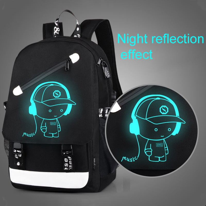 High School Backpacks For Teenager Luminous School Bags For Boy Girls Big Capacity Schoolbag USB Charge Laptop Backpack Kids Bag