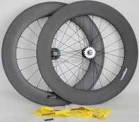 3k Matt Full Carbon 700c 88mm Width 23mm Clincher Wheelset For Track Bicycle With Fixed Gear