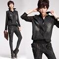Mulheres primavera rua personalizado mosaico malha de jeans de manga comprida