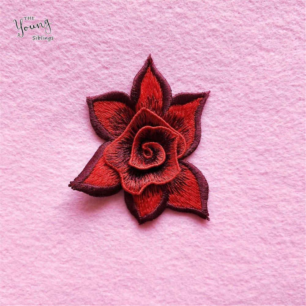 Bella Ricamo Del Fiore della rosa Del Merletto Del Neckline Tessuto accessori FAI DA TE Collare Mestiere di Cucito Decora il Vestito Forniture 1PCS vendono YL916