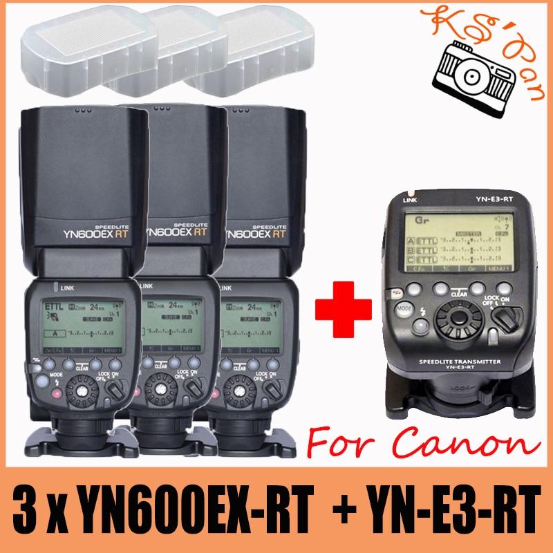 3pcs YONGNUO YN600EX-RT Flash Speedlite +YN-E3-RT Controller for Canon 5D3 5D2 7D Mark II 6D 70D 60D