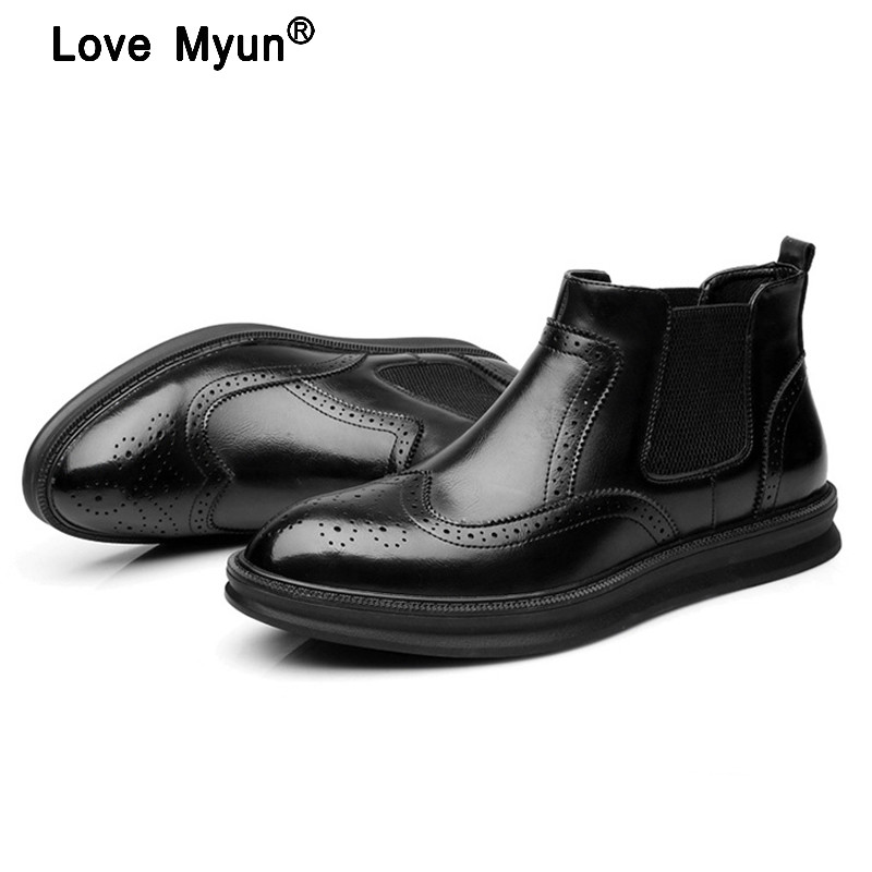 2018 British Style Men Dress Business Genuine Leather Shoes Fashion High-top Pointed Toe Black Men Shoes Chelsea Boots9 new fashion men shoes comfortable pointed toe genuine leather for men chelsea boots brogue anti skid business shoes black brown