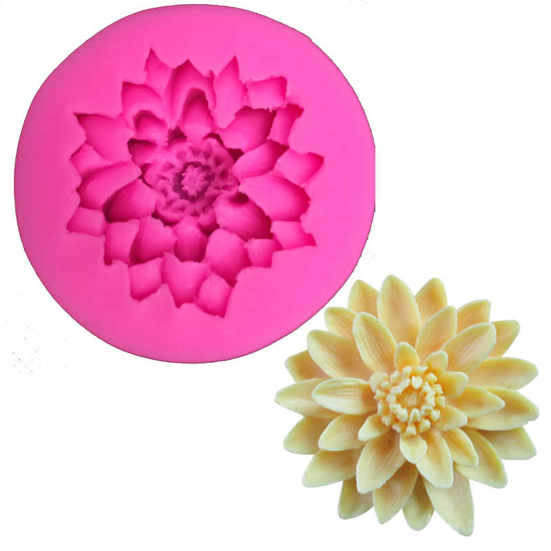 Chrysanthemum shape fondant silicone mold kitchen baking chocolate pastry candy Clay making cupcake lace decoration tools F0158