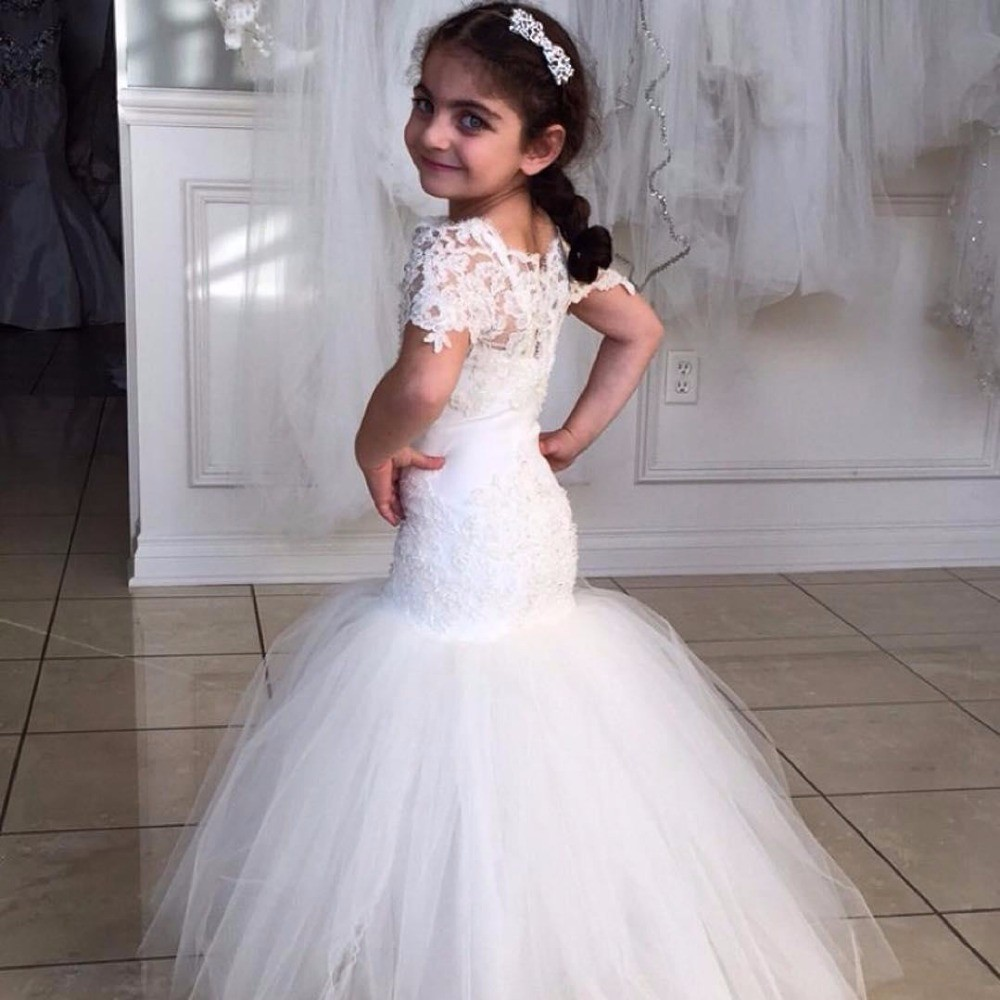 XH-98 New Arrival White Tulle Short Sleeve Mermaid   Flower     Girl     Dress   2018 Kids Prom   Dress   O-Neck Appliques Lace Little   Girl   Gown
