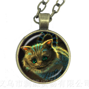 Cheshire Pendant Necklace Alice In Wonderland Jewelry Fun Gift Teen Girl Gift Sister Gift Geekery Pendant Sweater chain image