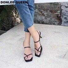DONLEE kraliçe 2019 ayak bileği kayışı topuklu kadın sandalet yaz ayakkabı açık Toe tıknaz Med topuk parti elbise ayakkabı dar bant sandalet yeni