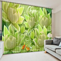 3D curtains home luxury Jade carving flower window curtain Living room bedroom Three dimensional curtain