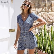 цены на Women's Summer Short Sleeve V Neck Polka Floral Dot Print Button Down Swing Mini Dress Laipelar  в интернет-магазинах