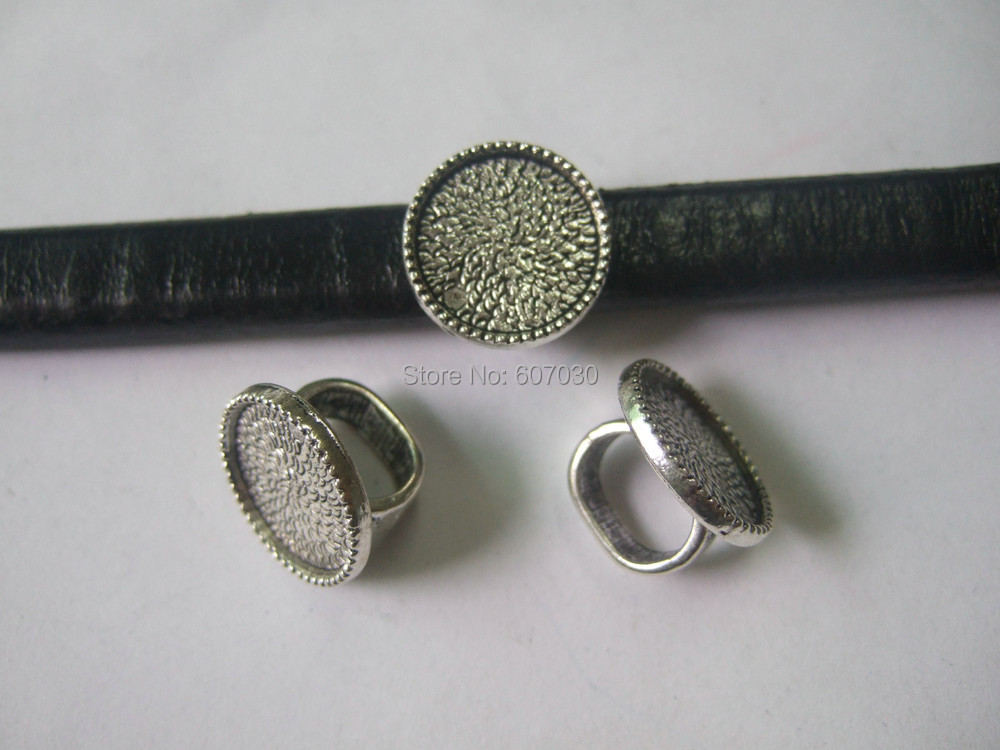10Pcs Antique Silver Ring Tray Beads Slide Spacer 10*7 For Licorice Flat Leather Necklace bracelet Jewellry DIY