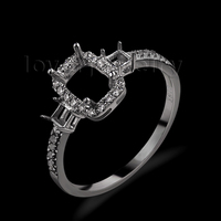 Solid 18Kt White Gold Emerald Cut Semi Mount Ring Promise Ring Mounting Ring For Sale WU270