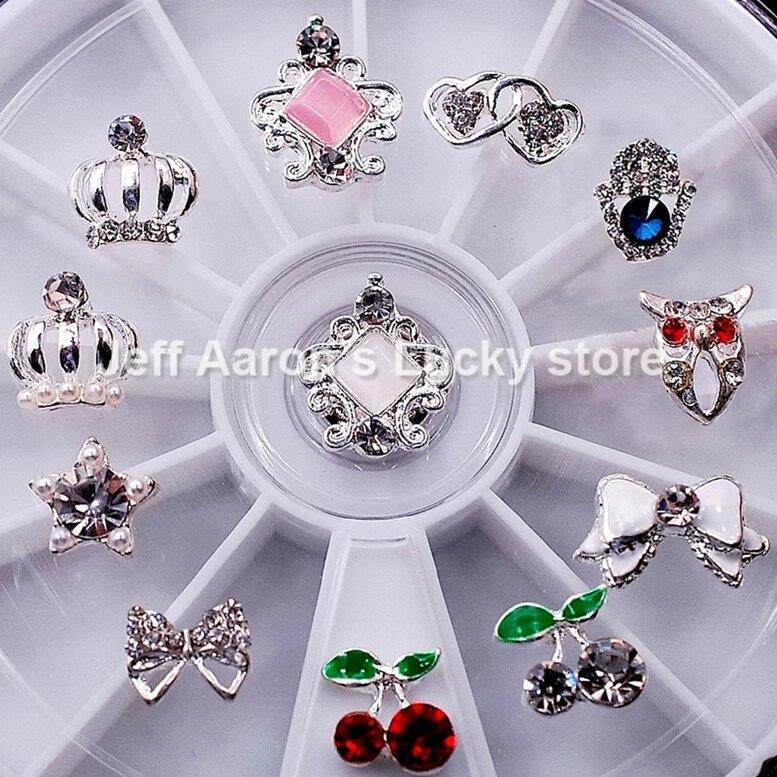 12 Mixed Styles Nail Art Glitter Rhinestones Wheel Metal Nail ...