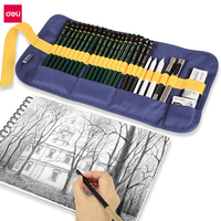 Deli Professional Art Sketch Set Painting Art Supplies Paper Eraser Charcoal Pencil Extender Knife Canvas Bag Kid Drawing Gift