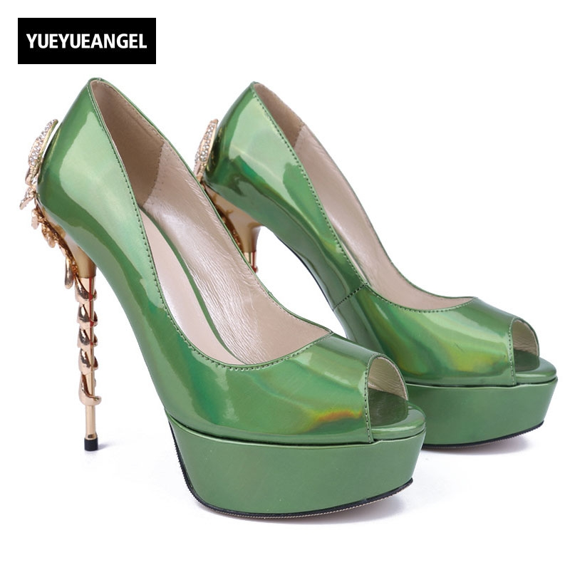 2018 New High Heel Shoes Womens Patent Leather Pumps Peep Toe Platform Slip On Party Shoes Dark Green Blue Hot Pink Plus Size nayiduyun women genuine leather wedge high heel pumps platform creepers round toe slip on casual shoes boots wedge sneakers