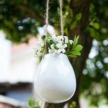 Cesta colgante de cerámica para plantas, maceta para flor florero para bulbos, decoración del hogar + cuerda de yute, novedad de 2019