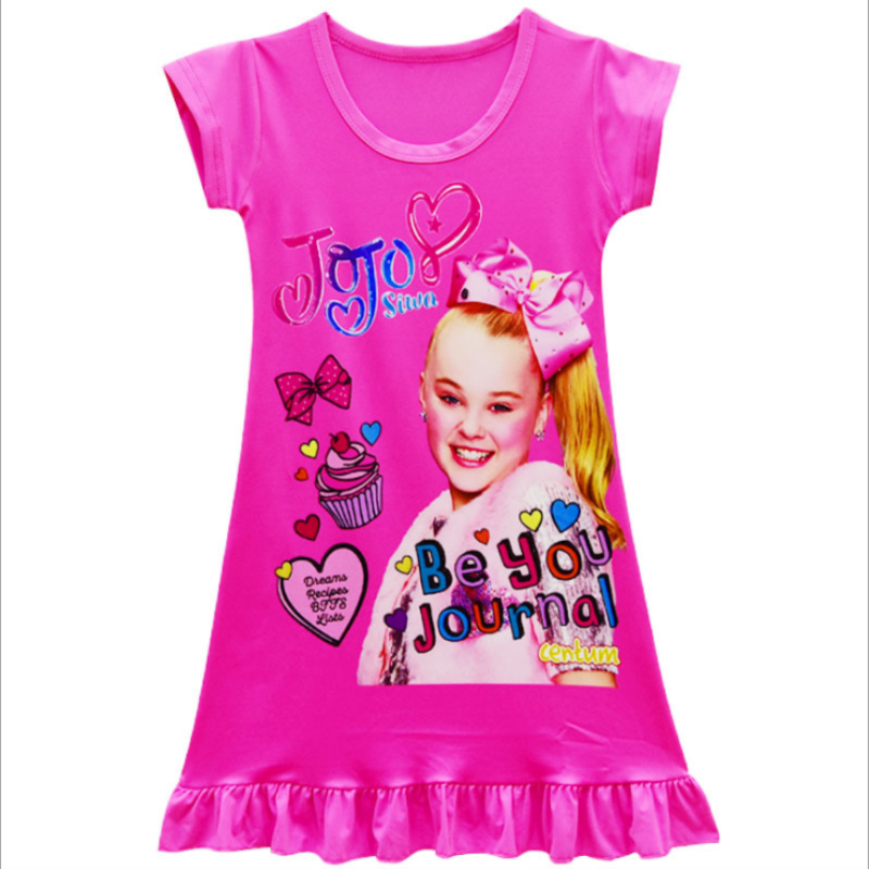 f7b5dd75e3611 Girls nightdress Summer cute pink Princess cartoon Dresses kids Jojo siwa  sleepping Dress children nightgown for girl gift 3-13Y