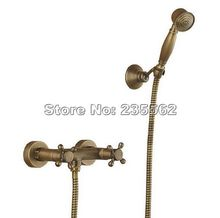 Vintage Antique Brass Wall Mounted Bathroom Handheld Shower Faucet Set Dual Cross Handle Mixer Tap Crs016