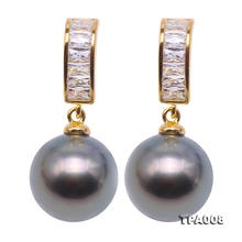 Perfect 10.5mm Round Black Tahitian Pearls Made With Rhinestone 925 Silver Dangle Earrings Charming Women Wedding Birthday Gift