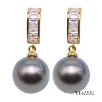 Perfect 10.5mm Round Black Tahitian Pearls Made With Rhinestone 925 Silver Dangle Earrings Charming Women Wedding Birthday Gift