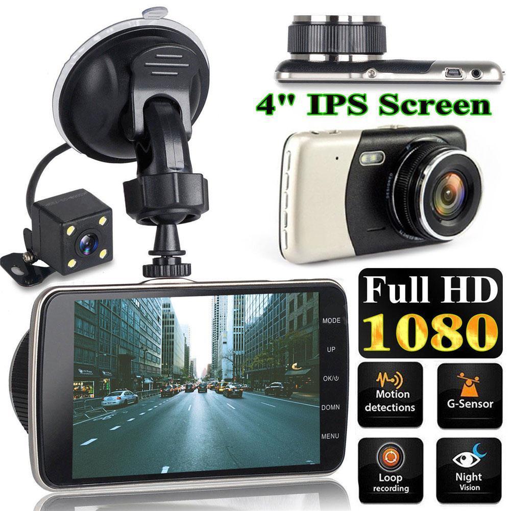 4 Polegada Dianteira E Traseira de Lente Dupla Gravador de Condução HD 1080 P Car Veículos DVR EDR Dashcam Com G- funções de Sensor de Retrovisor Traço Cam