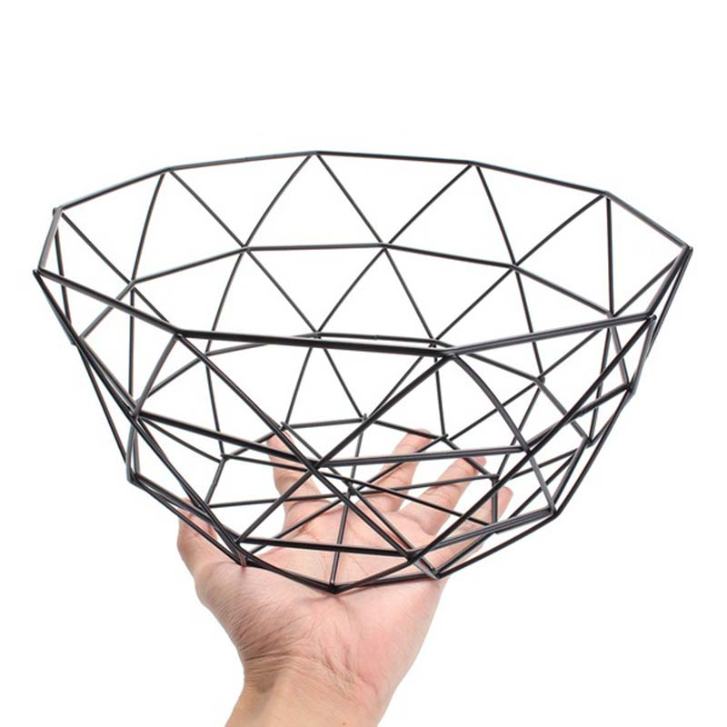 Hot Nordic Style Fruit Basket Wire Decorated Metal Storage Basket