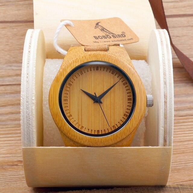 Luksusowy zegarek unisex bambusowe drewno skóra PU
