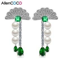 Allencoco chapado en plata de lujo con 3a + cz forma de sector y doble tres simulado perla de la borla cuelga gota pendientes de las mujeres