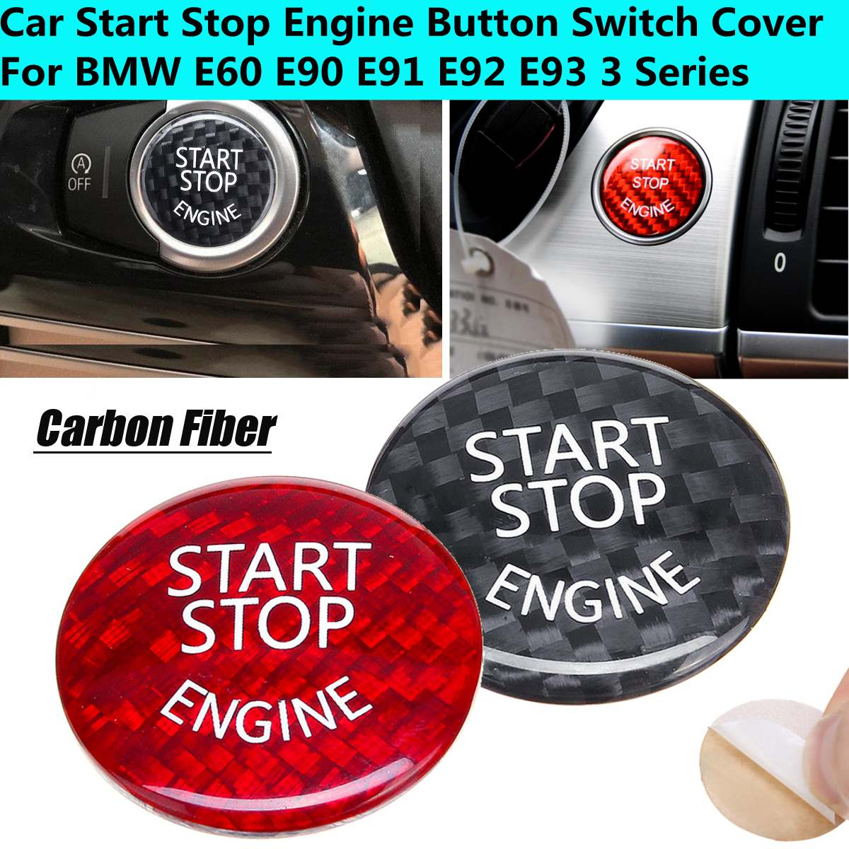 Car Start Stop Engine Button Switch Carbon Cover Carbon Fiber For BMW E60 E90 E91 E92 E93 3 Series X1 X3 X5 X6