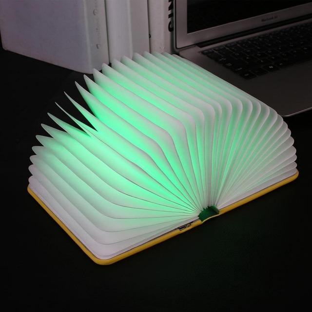 Cuero de LA PU Plegable De Luz LED USB Recargable Lámpara de Decoración Multicolor Luz de Noche Veilleuse