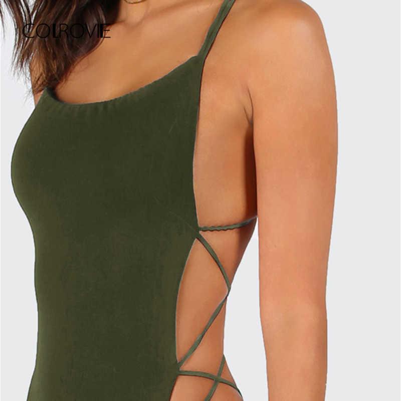COLROVIE армейский зеленый крест накрест на ремнях сексуальный костюм с открытой спиной Лето средняя талия ночной выход эластичные женские боди