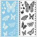 2Pcs Black White Lace Tattoo Body Art Stickers Butterfly Pattern Disposable Water Transfer Temporary Tattoos Size 21*14.5cm