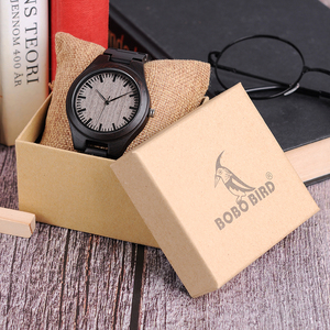 Image 5 - בובו ציפור רטרו אבוני עץ שעונים גברים באיכות גבוהה מותג מעצב זוגות שעון L O08