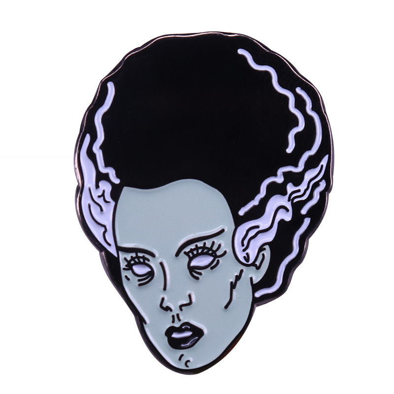 Bride of Frankenstein badge classic horror movie queen pin Halloween Christmas gift spooky art jewelry image