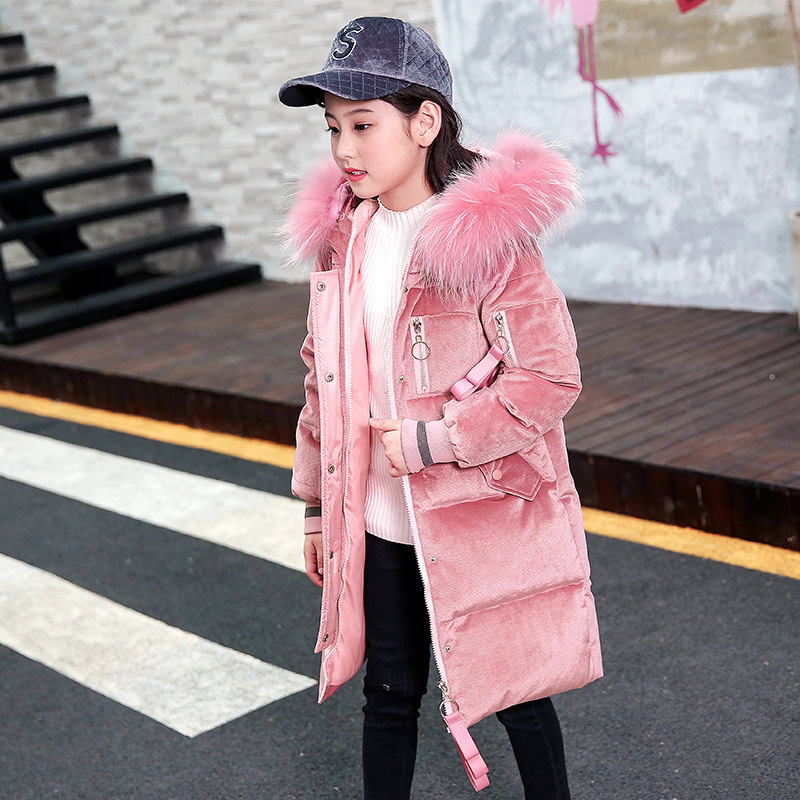 Girl's Long Design Big Fur Hooded Thick Extreme Cold Velvet Winter Down Coats Fashion Winter Warm Outdoor Coats