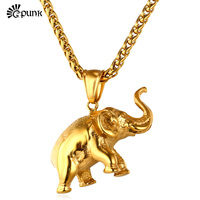 Elephant Pendant Necklace Cute Gift Unique Design yellow  Gold color  316L Stainless Steel Trendy Necklace P1815G