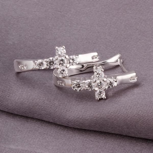 Plated Silver Earrings Fashion Jewelry Beautiful High Quality Inlaid Cross Kde311 Hd Dr In Drop From