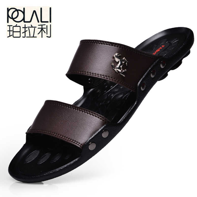 ae21cebc8bc POLALI Casual Famous Brand 2018 Men Sandals Shoes Slippers Summer Flip Flops  Beach Men Shoes Leather