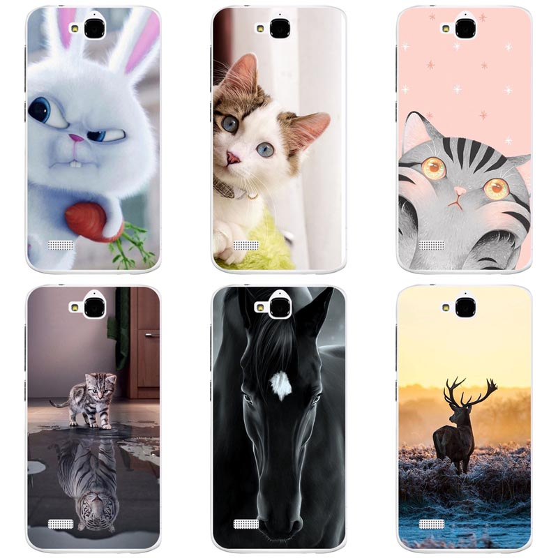 Cute Animal Cat Printing Case For Huawei Honor 3C Lite Play Honor Holly  Cover Relief Cartoon Design Funda Hard Plastic Coque