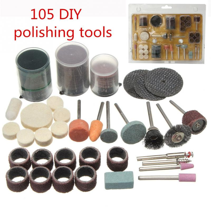 1 Complete Set 105 DIY Polished Cutting Polishing Engraving Electric Rotary Tool Accessory Grinding Carving Polishing Tools 10pcs lot rotary file electric grinding polishing head engraving cutter diy wood tool
