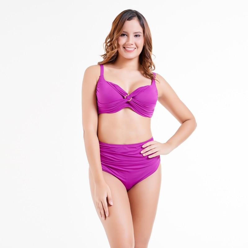 Solid New Women Swimsuits of Large Sizes Printed Retro High Waist Bikini 2018 Plus Size Swimwear Beach Sexy Bathing Suits