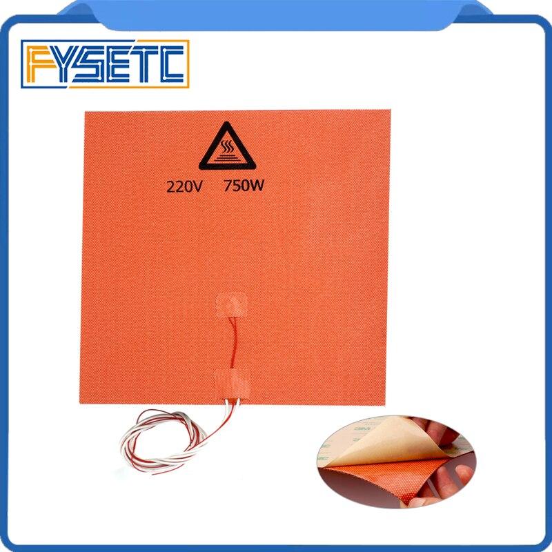 1 pc Silicone Esteira do Calefator do Silicone Heatbed Aquecedor Pad 300X300mm 220 v 750 w Com NTC 100 k Termistor 3 m Adesivo Para 3D Peça Da Impressora