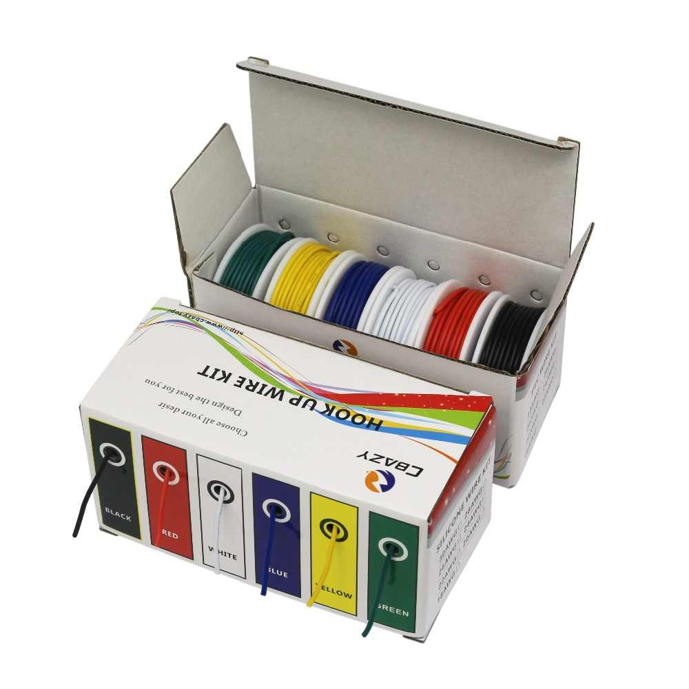 UL1007 emballage de boîte hybride | 18 20 22 24 26 28 AWG, 6 couleurs, fil toronné et fil de câble, fil de cuivre blanc, bricolage