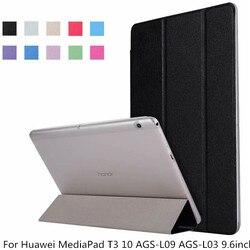 Przezroczysty PU skórzane etui z klapką Ultra Slim etui ochronne dla Huawei MediaPad T3 10 9.6 cal AGS-L09 AGS-L03 Tablet pokrywa + długopis