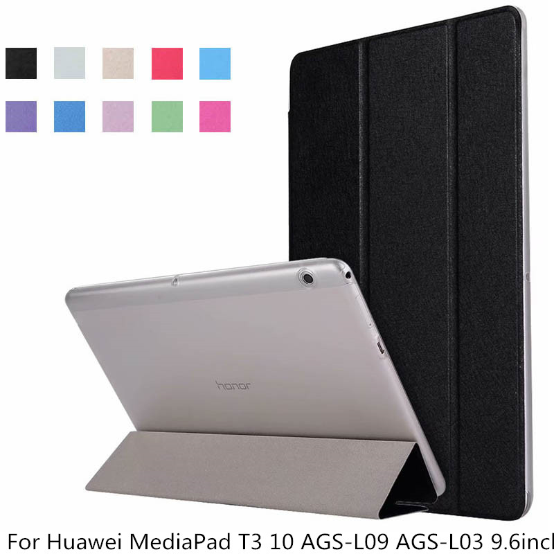Transparent PU Leather Flip Stand Ultra Slim Protective Case For Huawei MediaPad T3 10 9.6inch AGS-L09 AGS-L03 Tablet Cover