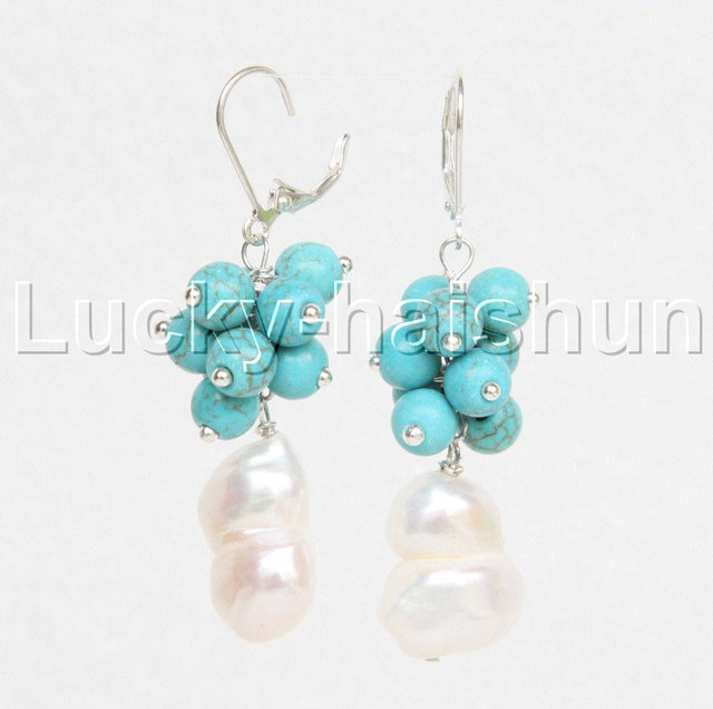 ee87de701ce0 Cuelgan Barroco genuino doble 14mm perlas blancas Pendientes de aro de plata  925 j11668