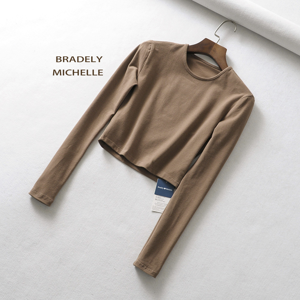 HTB1GWaHXyYrK1Rjy0Fdq6ACvVXaL - BRADELY MICHELLE crop tops for women Sexy female o-neck long-sleeve solid t shirt
