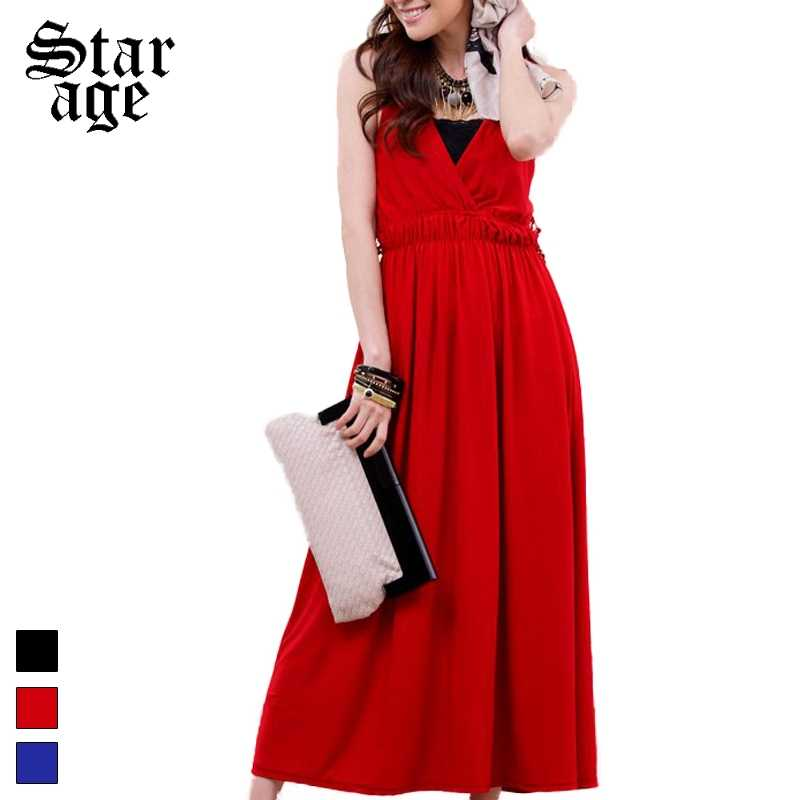 fca12e86bc231 M-XXXL Hollow Lace Back Long Party Dresses Plus Size Deep V-Neck Elastic  Waist Ankle Length Sundress Blue/Black/Red 9112