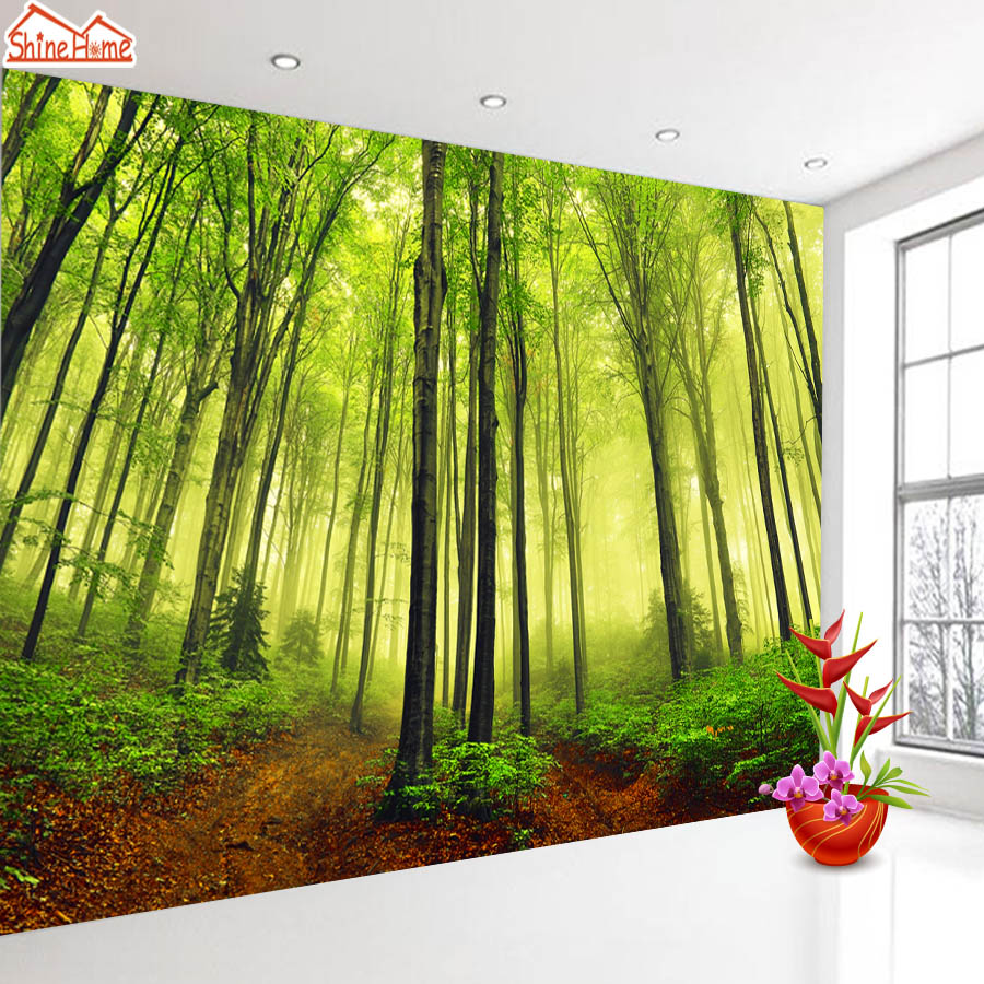 Shinehome bosque sol rbol de papel tapiz para - Murales de pared 3d ...