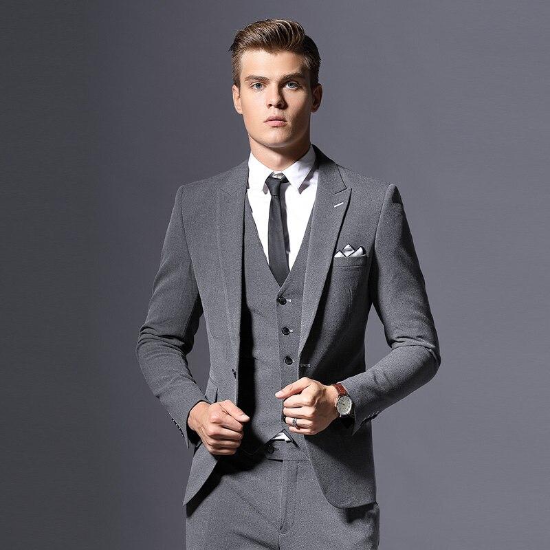 Venta de chaqueta de marca para hombre, chaqueta Formal de negocios, chaqueta de novio de tres piezas, ropa de fiesta ajustada, vestido de boda de un solo botón - 2